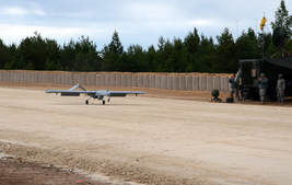 UAV on hard-packed runway